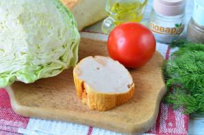 Салат с капустой, ветчиной и сухариками - фото шаг 1