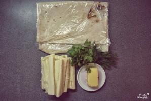 Сулугуни в лаваше на сковороде - фото шаг 1