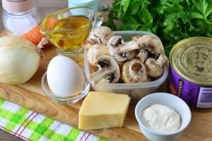 Салат с сайрой и грибами - фото шаг 1
