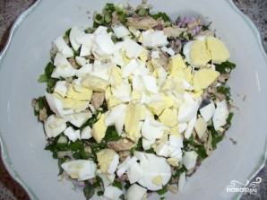 Салат из скумбрии с рисом - фото шаг 5