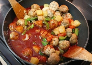 Фрикадельки из курицы в чили соусе с овощами - фото шаг 8