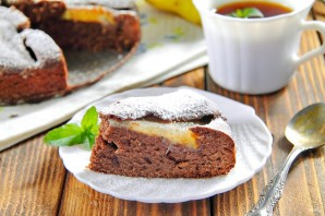 Шоколадный пирог с грушами - фото шаг 7