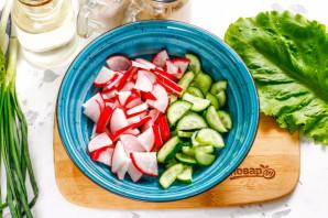 Салат с красной рыбой без майонеза - фото шаг 2