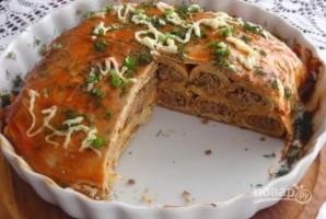 Блинный пирог с печенкой - фото шаг 8