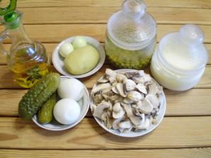 Салат с грибами и огурцами - фото шаг 1