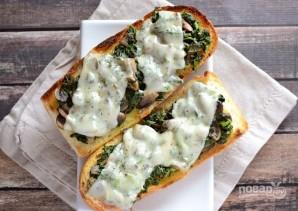 Бутерброды в духовке с грибами и шпинатом - фото шаг 6