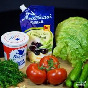 Салат из огурцов и помидоров - фото шаг 1
