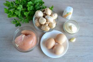 Салат с яичными блинчиками и шампиньонами - фото шаг 1