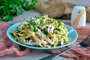 Салат с яичными блинчиками и шампиньонами - фото шаг 12