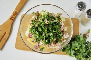 Рыбный салат из консервов с картошкой - фото шаг 4