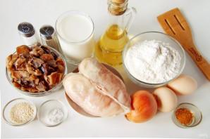 Заливной пирог с курицей и грибами - фото шаг 1