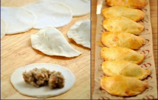 Пирожки с грибами из слоеного теста - фото шаг 2