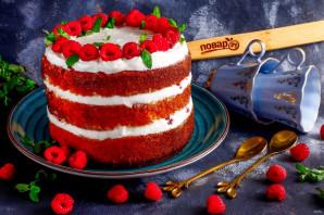 Бисквитный торт с малиной - фото шаг 8