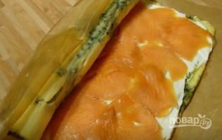 Сырный рулет с лососем - фото шаг 7