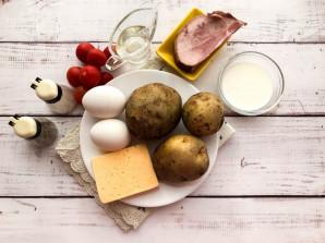 Картофельный киш с ветчиной и сыром - фото шаг 1