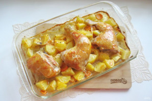 Картошка с курицей по-деревенски в духовке - фото шаг 9