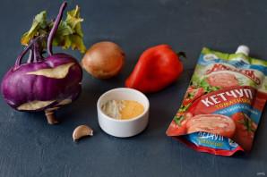 Кольраби жареная с кетчупом - фото шаг 1