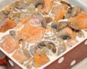 Жульен с рыбой и грибами   - фото шаг 4