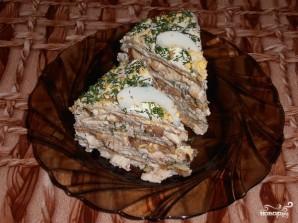 Блинный пирог с курицей, грибами и творогом - фото шаг 17