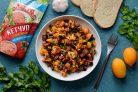 Теплый овощной салат с кетчупом
