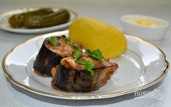 Скумбрия, запеченная в горчично-соевом соусе