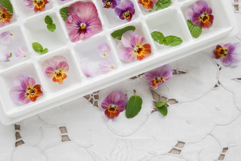 Кубики льда с съедобными цветами