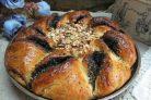 Дрожжевой пирог с шоколадной пастой маком и орехами