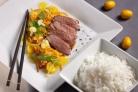 Утка с овощами и рисом