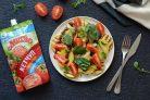 Теплый салат из овощей с кетчупом