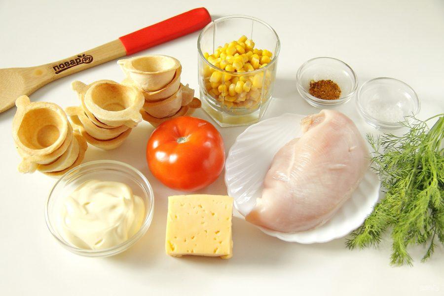 Запеченные тарталетки с курицей