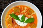 Хрустящий суп из тыквы с сухариками
