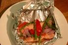 Кижуч, запеченный с овощами