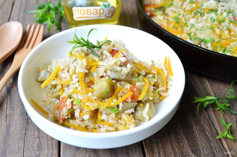 Рис с баклажанами и сладким перцем