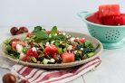 Салат с зеленью, арбузом и фетой