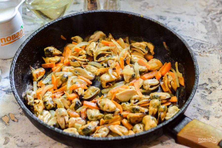 Мидии в сливочно-горчичном соусе