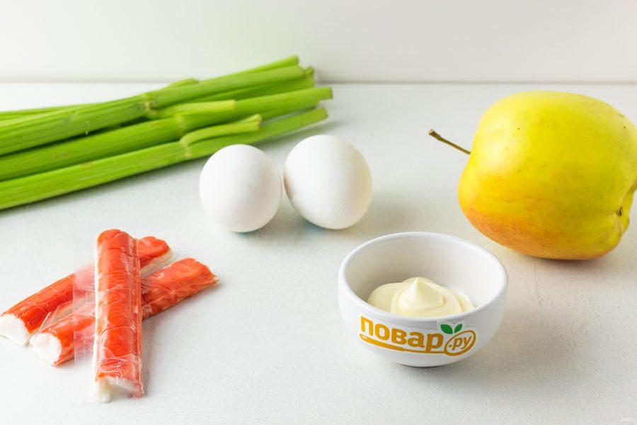Салат из крабовых палочек и сельдерея яйца