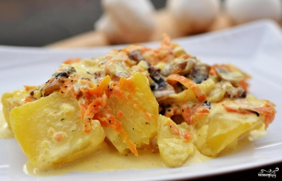 картошка с грибами со сливками в духовке