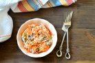 Салат с сердечками, морковью и луком
