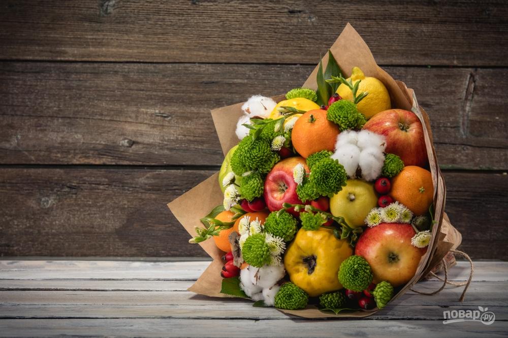 Съедобный букет из овощей и цветов