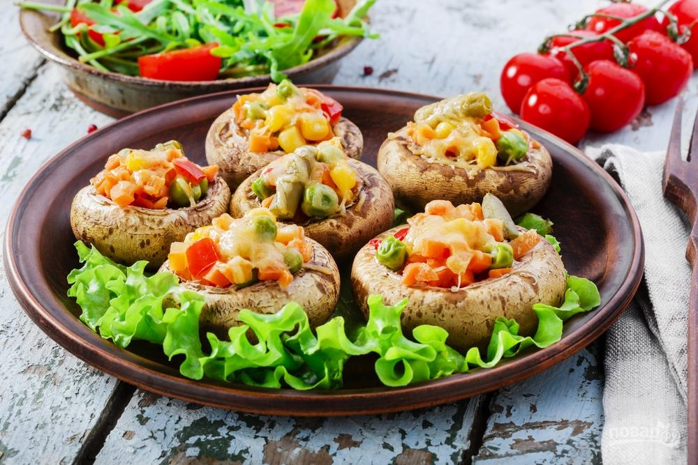 Грибы, фаршированные овощами