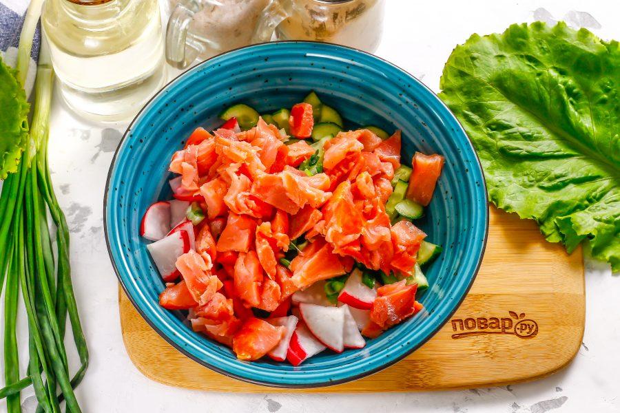 Салат с красной рыбой без майонеза