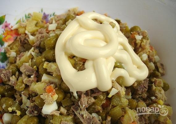 Салат с вареным мясом