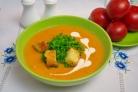 Сливочный томатный суп с базиликом