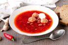 Сибирский борщ с фрикадельками и фасолью