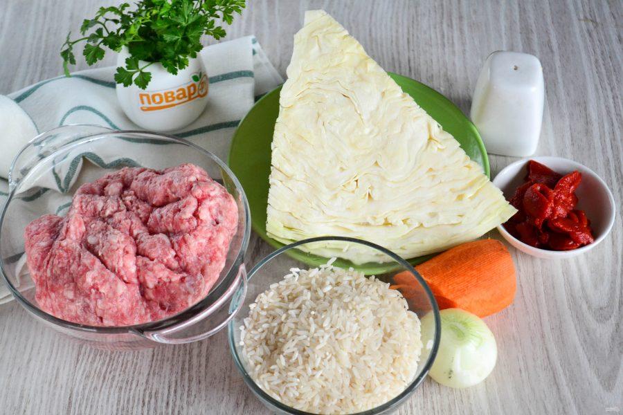 Ингредиенты для ленивых голубцов в соусе