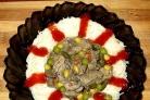 Печень с грибами в мультиварке