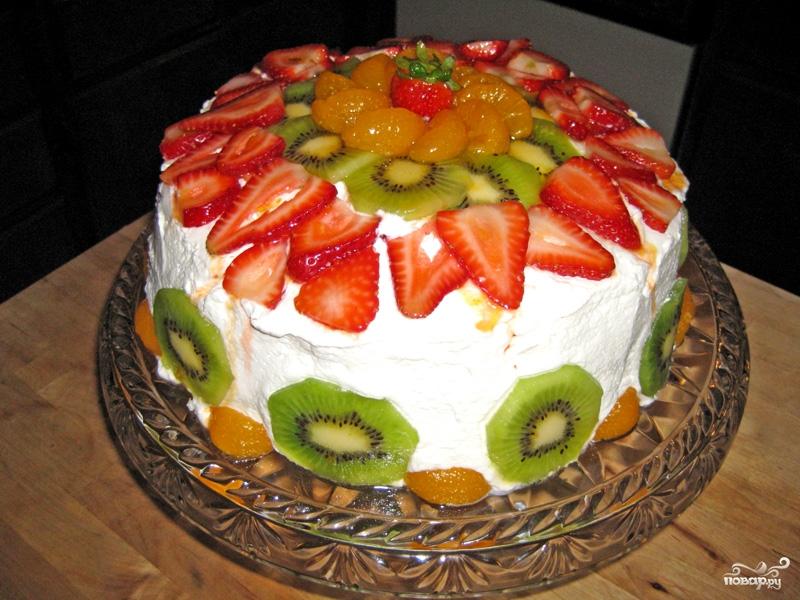 Рецепт Торт со взбитыми сливками и фруктами