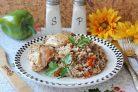 Куриные бедра с гречкой в духовке