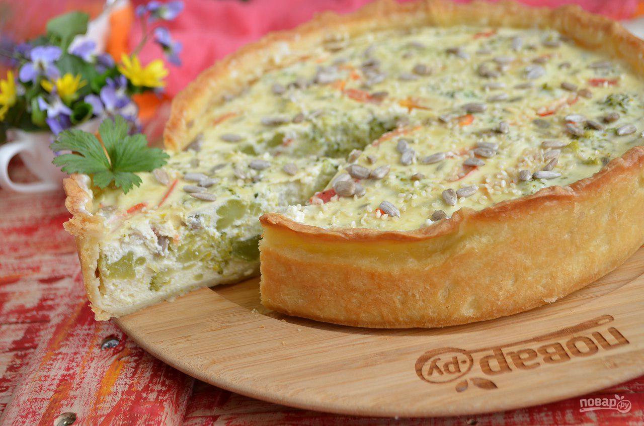 Пирог с брокколи и творогом