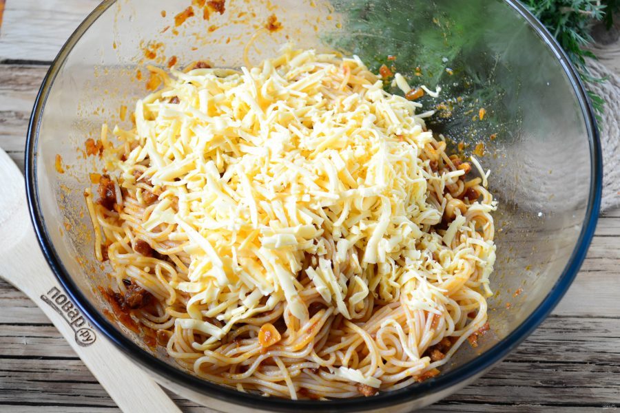 """Пирог из спагетти """"Болоньезе"""""""